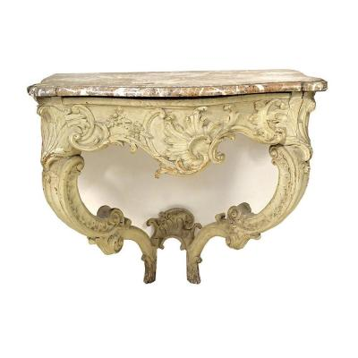 Console Louis XV Carved Wood Lacquered Marble Breccia Shells XVIIIth Century