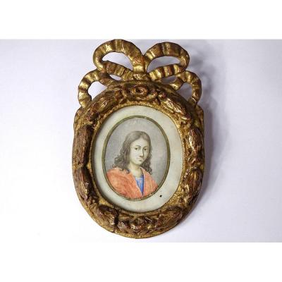 Miniature Oval Portrait Young Man Golden Carved Wood Frame Knot XVIII