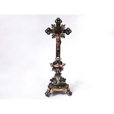 Petit Crucifix Christ Croix Argent émaillé Turquoises Autriche Vienne XIXè