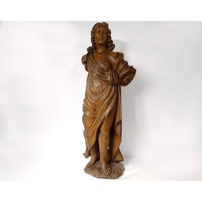 Sculpture Statue Carved Wood Saint John The Baptist Prophet XVIIth Century