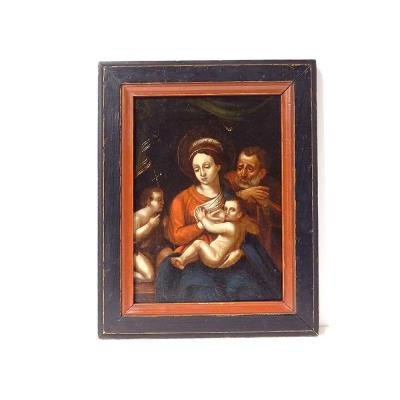 Hsp Religious Painting Virgin Madonna Breastfeeding Holy Family Flemish 18th