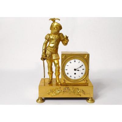 Clock Empire Gilt Bronze Musketeer Sword Griffons Le Roy Paris XIX