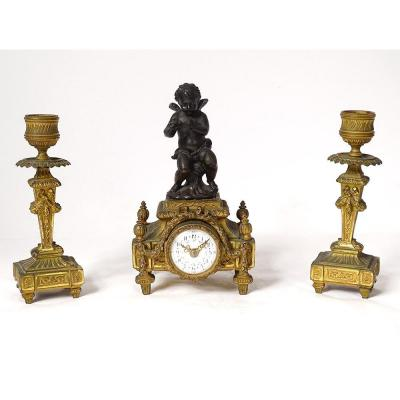 Petite Pendulette Bougeoirs Bronze Doré Angelot Fleurs Noeud XIXème