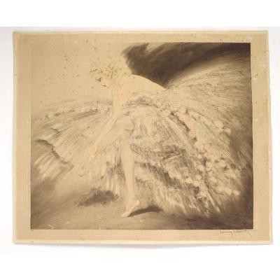 Lithographie Eau-forte Louis Icart Danseuse Ballerine Jeune Femme XXème