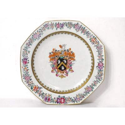Plat Octogonal Porcelaine Compagnie Indes Armoiries Blason Chevalier XVIIIè