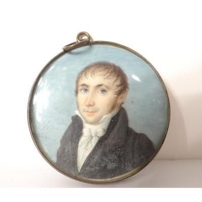 Miniature Peinte Portrait Jeune Homme Noble Bourgeois XIXè