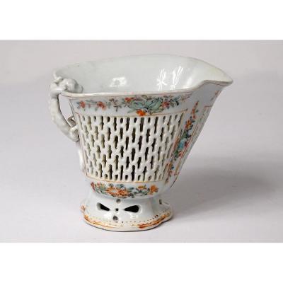 Coupe Libatoire Porcelaine Chinoise Ajourée Dragon Fleurs Chine XVIIIème