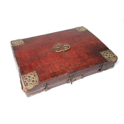 Ecritoire de Voyage Coffret Cuir Gaufré Doré Laiton XVIIè XVIIIème Siècle