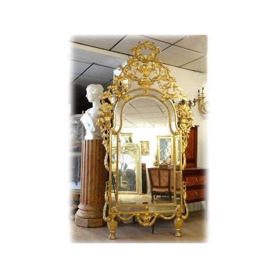 Grand Miroir Parecloses Bois Doré Glace Guirlandes Italie Piémont XVIIIème
