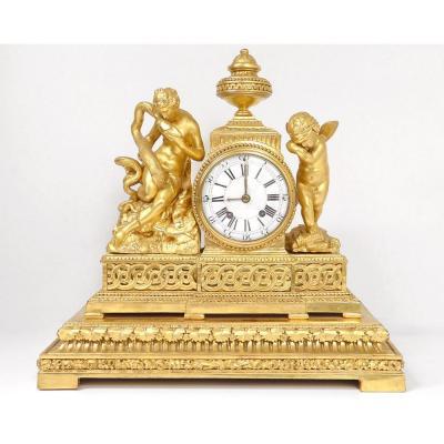Golden Wood Pendulum Hygie Goddess Serpent Angelot Eros Cupid Clock XVIIIth