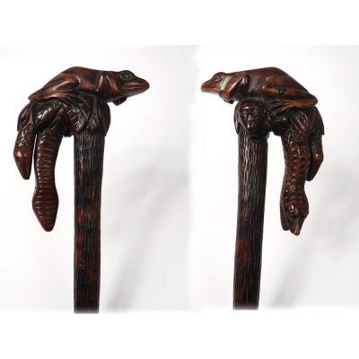 Canne Art Populaire Bois Sculpté Serpents Grenouille Singe XIXème Siècle