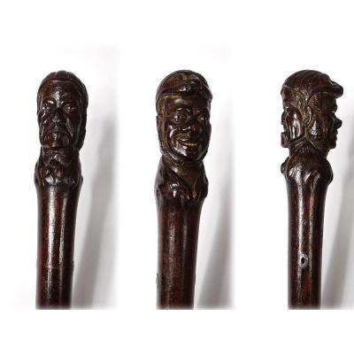 Canne Palissandre Sculpté Jean Rit Pleure Armateur Bordelais XVIIIè Siècle