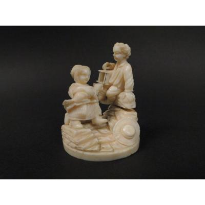 Sculpture Miniature Ivoire Dieppe Poletaise Enfants Cage à Oiseaux XIXème