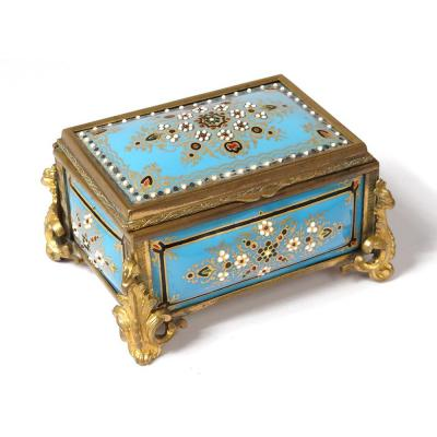 Small Box Bressans Enamel Beads Bronze Napoleon III Flowers XIXth