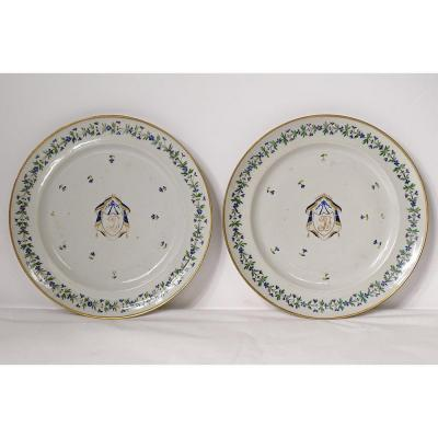 Pair Dish Company India Porcelain European Decor Barbeau Coat Of Arms 18th