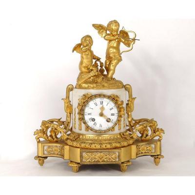 Pendulum Gilt Bronze White Marble Cupid Cupids Romantic Quiver XIXth