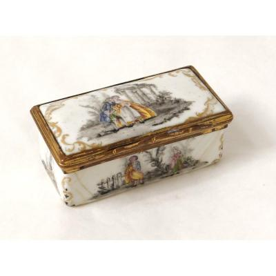 Small Enamel Box Grisaille Characters Romantic Scene Ruins XVIIIth