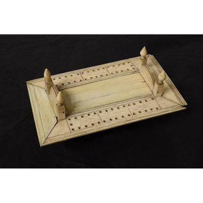 Boîte à Dominos Coffret Os Sculpté Travail Ponton Bagnard XIXème Siècle