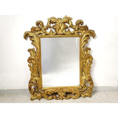 Mirror Italy Carved Gilded Wood Foliage Beveled Ice XIXth Century