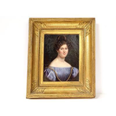 Hst Portrait Julie Volpelière Young Woman Empire Frame Stuccoed 1829 XIXth