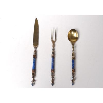 Ceremonial Cutlery Vermeil Silver Enamel Lapis-lazuli Austria XIXth Helmet