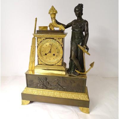 Pendulum Allegory Of Maritime Commerce Gilt Bronze XIXth Time