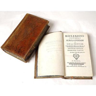 2 Livres Réflexions Critiques Poésie Peinture Abbé Dubos 1770 XVIIIème