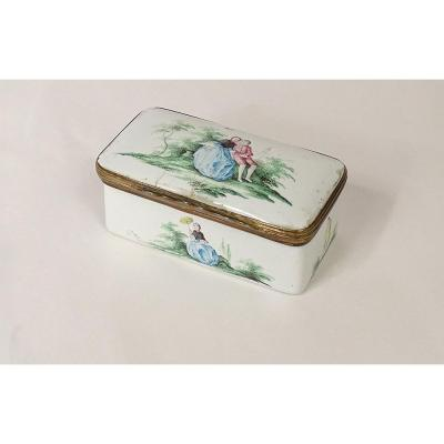 Enamelled Box Decor Romantic Romantic Scene XVIIIth Time