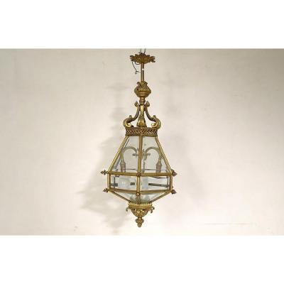Lanterne Vestibule Style Gothique Bronze Vitres Biseautées XIXè