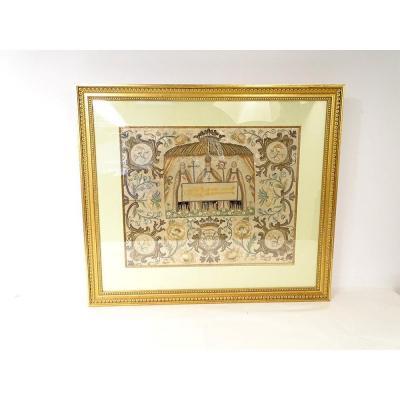 Tapestry Saint Shroud Of Besançon Gold Silver Thread Flower Christ Canon 18th