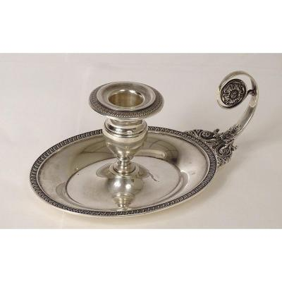 Hand Candle Holder Sterling Silver Decor Palmettes Empire Style XIXth