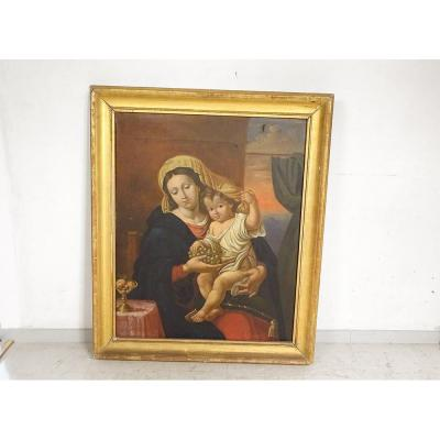 Virgin And Child With The Bunch Of Grapes Frame Wood Boré Nineteenth Time