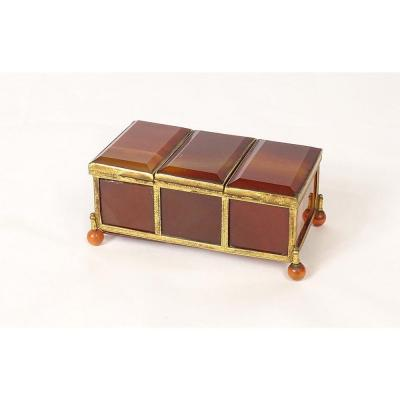 Box Three Compartments Agate Set With Chiseled Brass XIXth Time