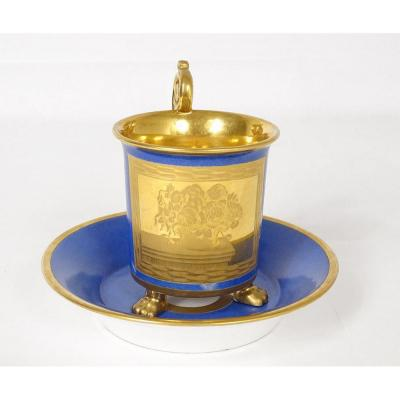 Paris Blue Porcelain Cup And Saucer Golden Decor Signed Julienne Nineteenth