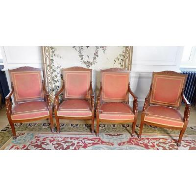 Suite Four Mahogany Armchairs Swan Neck Stamp P Marcion Nineteenth
