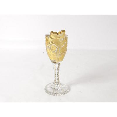 Gold Engraved Crystal Glass Baccarat Saint Louis XIXth Exhibition