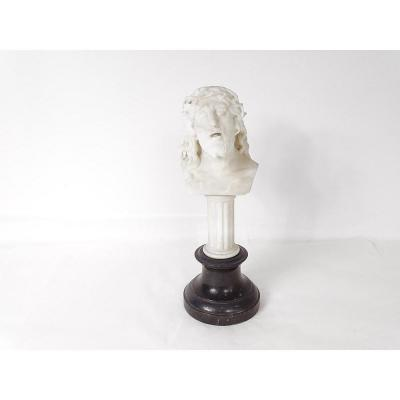 Sculpture Marbre Buste Christ Signé L Benoit-godet XIXème