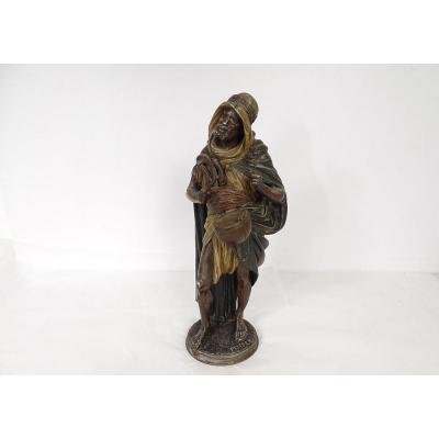 Sculpture Regulates Orientalise Berber With Drum Signed Peiefer Nineteenth