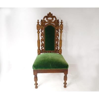 Childrens Chair Carved Wood Velvet Seat XIXth Century