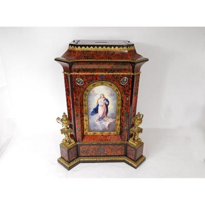 Tabernacle Marqueterie Boulle écaille Tortue Vierge Marin Lapis Lazuli XIXè
