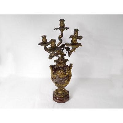 Grand candélabre 5 feux bronze marbre griotte feuillage coquilles XIXème