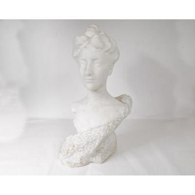 Sculpture Marbre Carrare Buste Femme Signé Edmond De Laheudrie XIXè Siècle