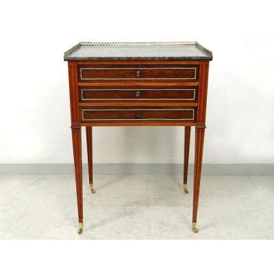 Petite Table De Salon Louis XVI écritoire Acajou Marbre Gris Laiton XVIIIè