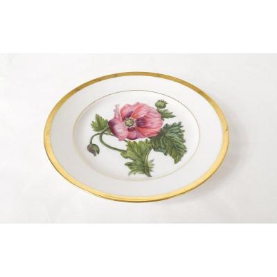 Porcelain Plate Flower Decor Golden Liseret Nineteenth