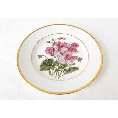 Hand Painted Porcelain Plate Flower Decor Nineteenth Golden Edging