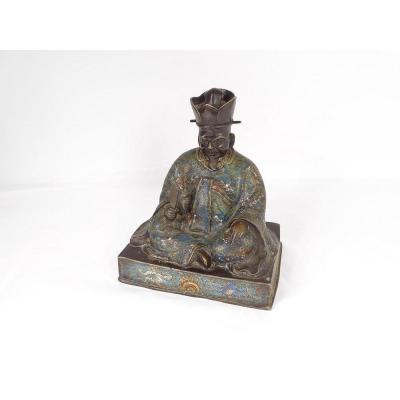 Cloisonné Enamelled Bronze Sculpture Wise Man Sitting Japan XIXth