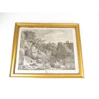 Gravure Vernet paysage cascade personnages Pierre Charles de Villette 18è