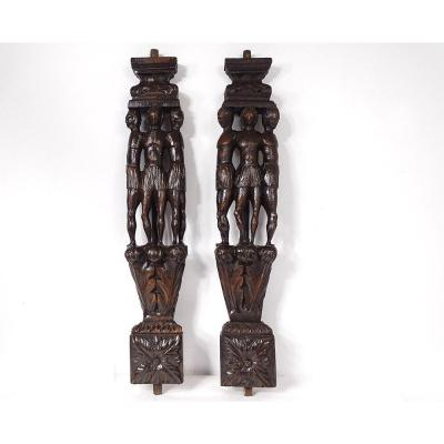 Pair Of Haute Epoque Sculptures Carved Wood Native Woodwork XVIIth Century