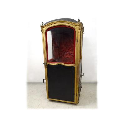 Chaise à Porteurs Louis XV Bois Doré Noirci Velours Gênes XVIIIème Siècle