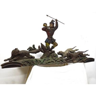 Grande sculpture bois Saint-Hubert chasse signé Paul Guibé 190cm XIXème